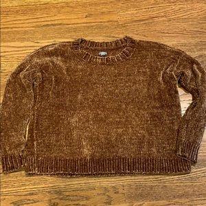 Aerie boxy crop chenille sweater medium